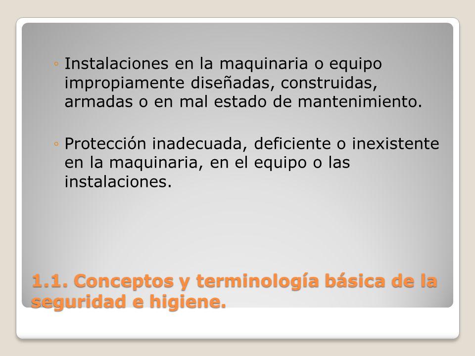 1.1. Conceptos y terminología básica de la seguridad e higiene. Instalaciones en la maquinaria o equipo impropiamente diseñadas, construidas, armadas