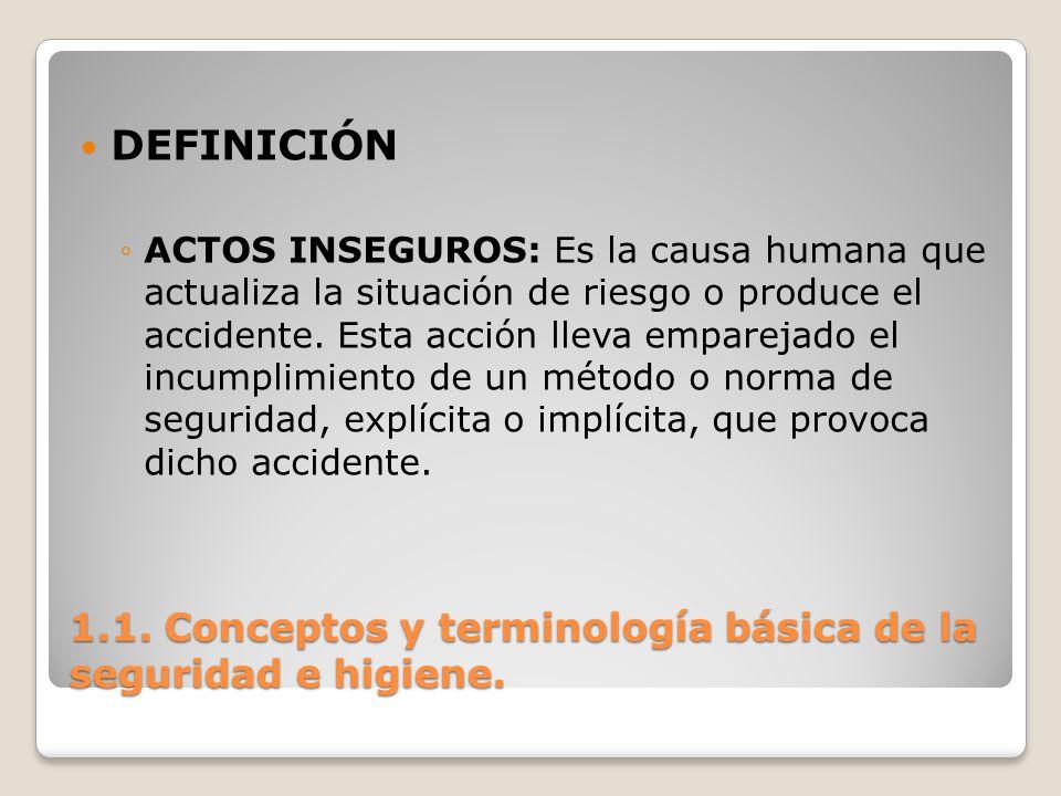 1.1. Conceptos y terminología básica de la seguridad e higiene. DEFINICIÓN ACTOS INSEGUROS: Es la causa humana que actualiza la situación de riesgo o