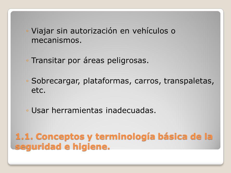 1.1. Conceptos y terminología básica de la seguridad e higiene. Viajar sin autorización en vehículos o mecanismos. Transitar por áreas peligrosas. Sob