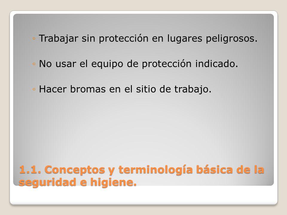 1.1. Conceptos y terminología básica de la seguridad e higiene. Trabajar sin protección en lugares peligrosos. No usar el equipo de protección indicad