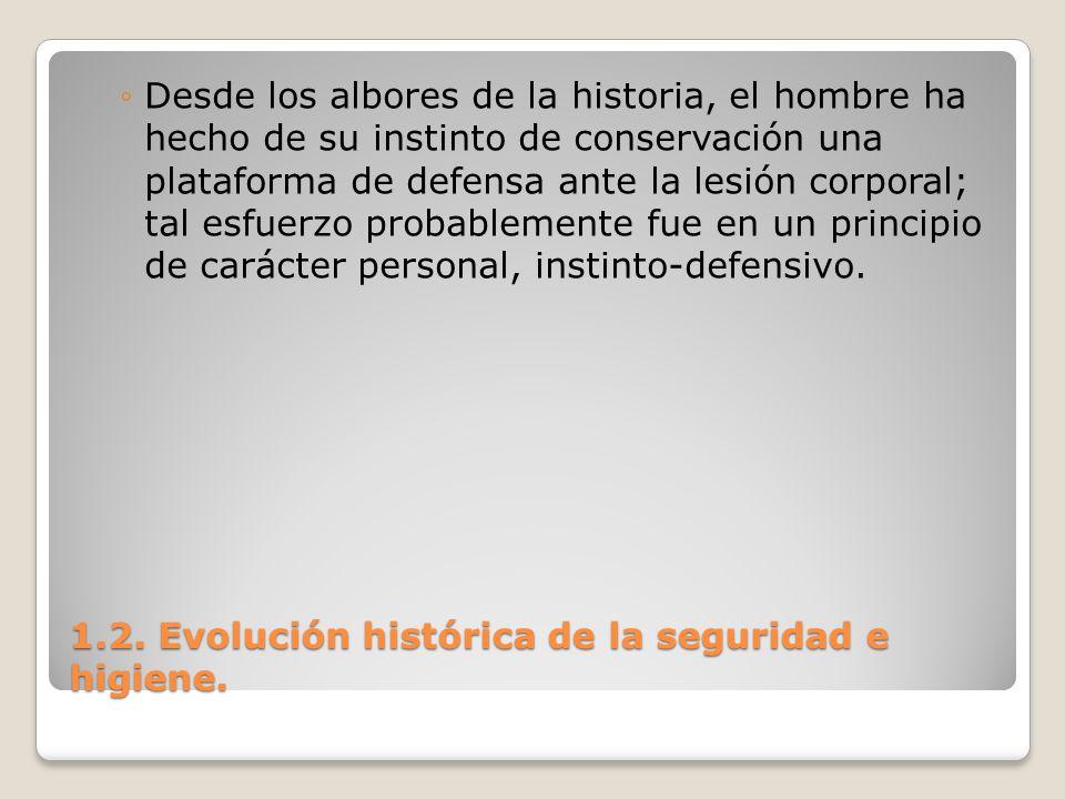 1.2. Evolución histórica de la seguridad e higiene. Desde los albores de la historia, el hombre ha hecho de su instinto de conservación una plataforma