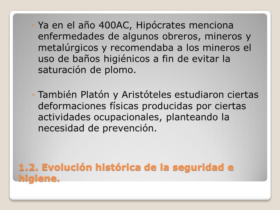 1.2. Evolución histórica de la seguridad e higiene. Ya en el año 400AC, Hipócrates menciona enfermedades de algunos obreros, mineros y metalúrgicos y