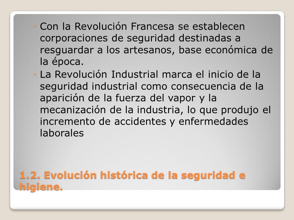 1.2. Evolución histórica de la seguridad e higiene. Con la Revolución Francesa se establecen corporaciones de seguridad destinadas a resguardar a los