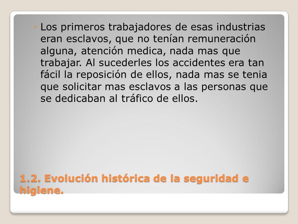 1.2. Evolución histórica de la seguridad e higiene. Los primeros trabajadores de esas industrias eran esclavos, que no tenían remuneración alguna, ate
