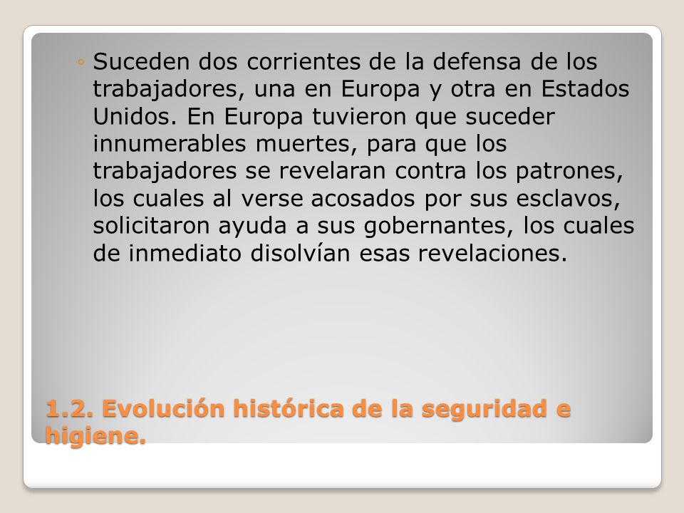 1.2. Evolución histórica de la seguridad e higiene. Suceden dos corrientes de la defensa de los trabajadores, una en Europa y otra en Estados Unidos.
