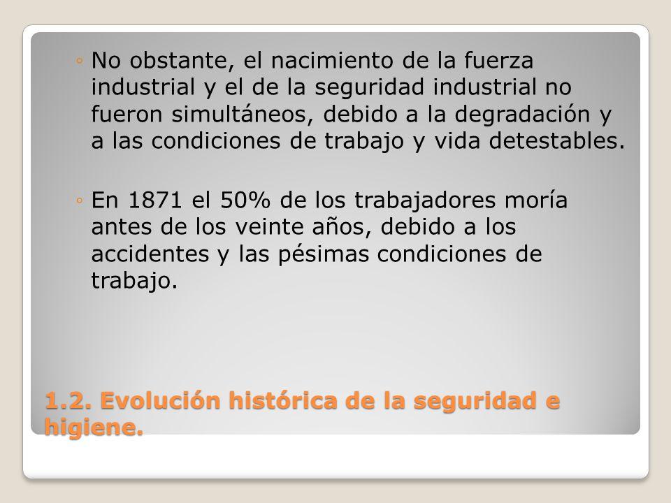 1.2. Evolución histórica de la seguridad e higiene. No obstante, el nacimiento de la fuerza industrial y el de la seguridad industrial no fueron simul