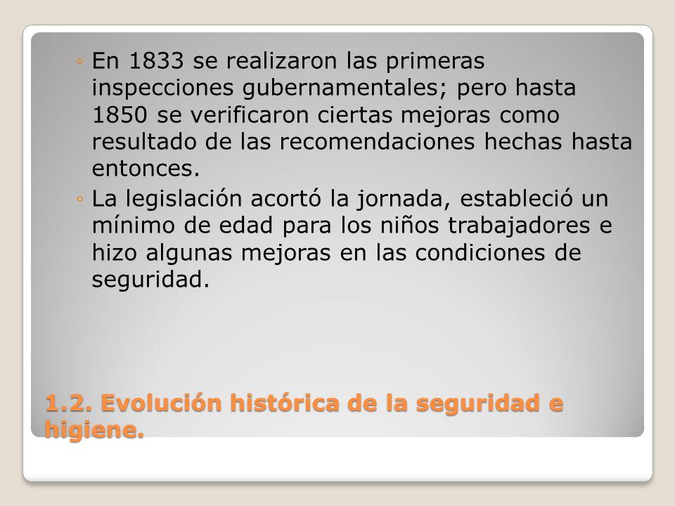 1.2. Evolución histórica de la seguridad e higiene. En 1833 se realizaron las primeras inspecciones gubernamentales; pero hasta 1850 se verificaron ci
