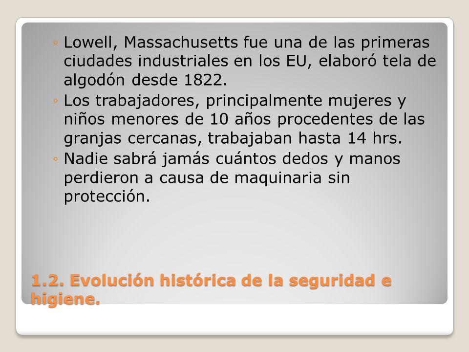 1.2. Evolución histórica de la seguridad e higiene. Lowell, Massachusetts fue una de las primeras ciudades industriales en los EU, elaboró tela de alg
