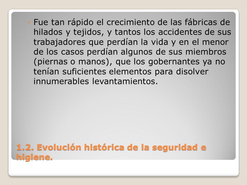 1.2. Evolución histórica de la seguridad e higiene. Fue tan rápido el crecimiento de las fábricas de hilados y tejidos, y tantos los accidentes de sus