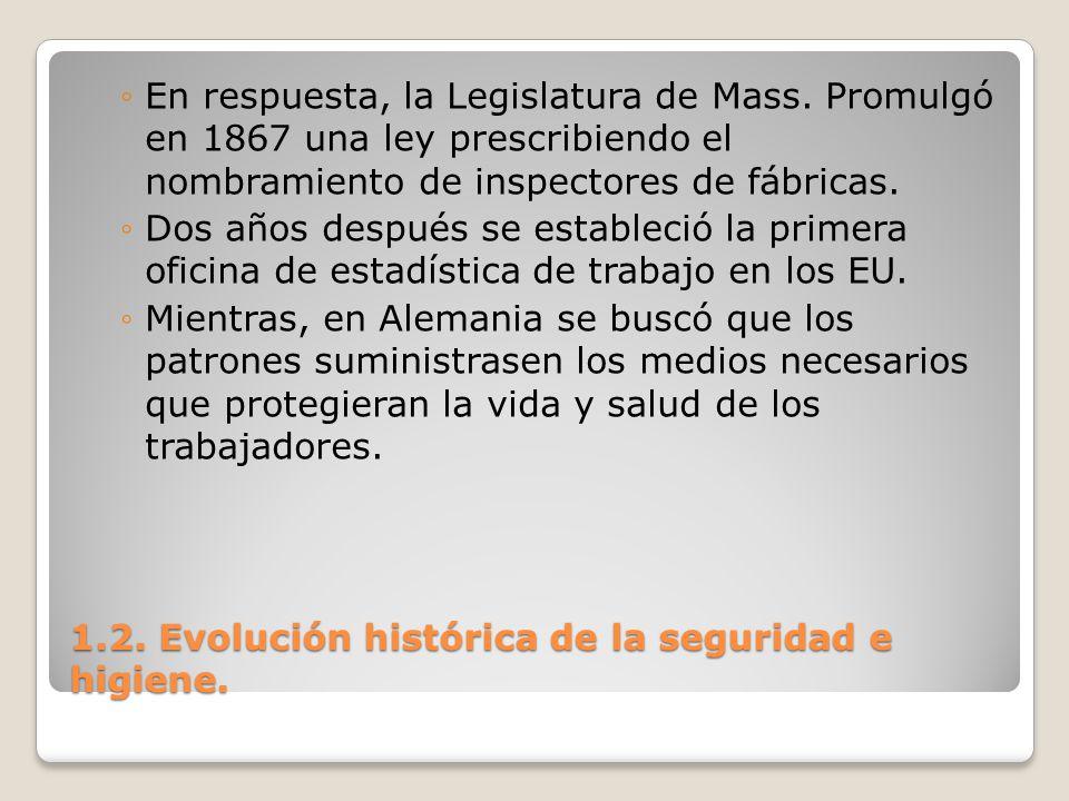 1.2. Evolución histórica de la seguridad e higiene. En respuesta, la Legislatura de Mass. Promulgó en 1867 una ley prescribiendo el nombramiento de in