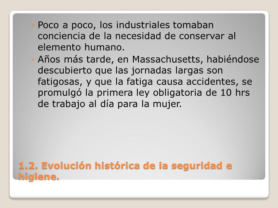 1.2. Evolución histórica de la seguridad e higiene. Poco a poco, los industriales tomaban conciencia de la necesidad de conservar al elemento humano.