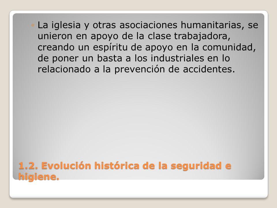 1.2. Evolución histórica de la seguridad e higiene. La iglesia y otras asociaciones humanitarias, se unieron en apoyo de la clase trabajadora, creando