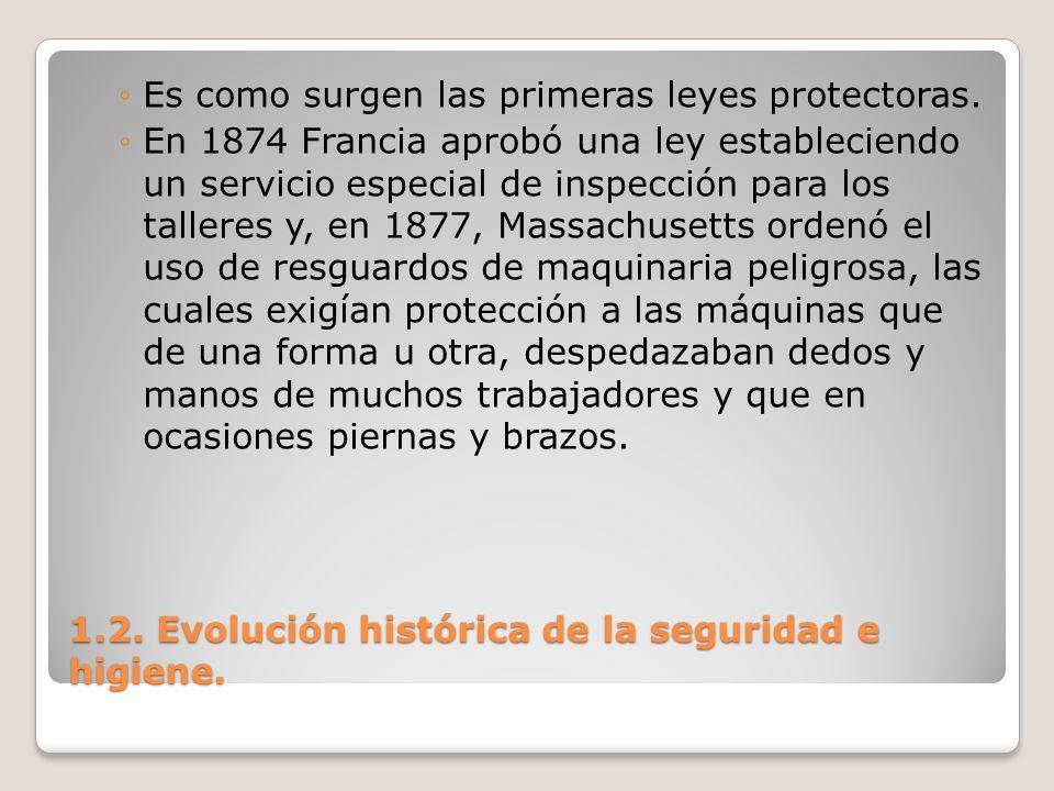 1.2. Evolución histórica de la seguridad e higiene. Es como surgen las primeras leyes protectoras. En 1874 Francia aprobó una ley estableciendo un ser