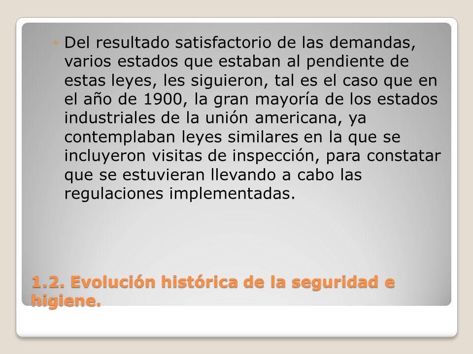1.2. Evolución histórica de la seguridad e higiene. Del resultado satisfactorio de las demandas, varios estados que estaban al pendiente de estas leye