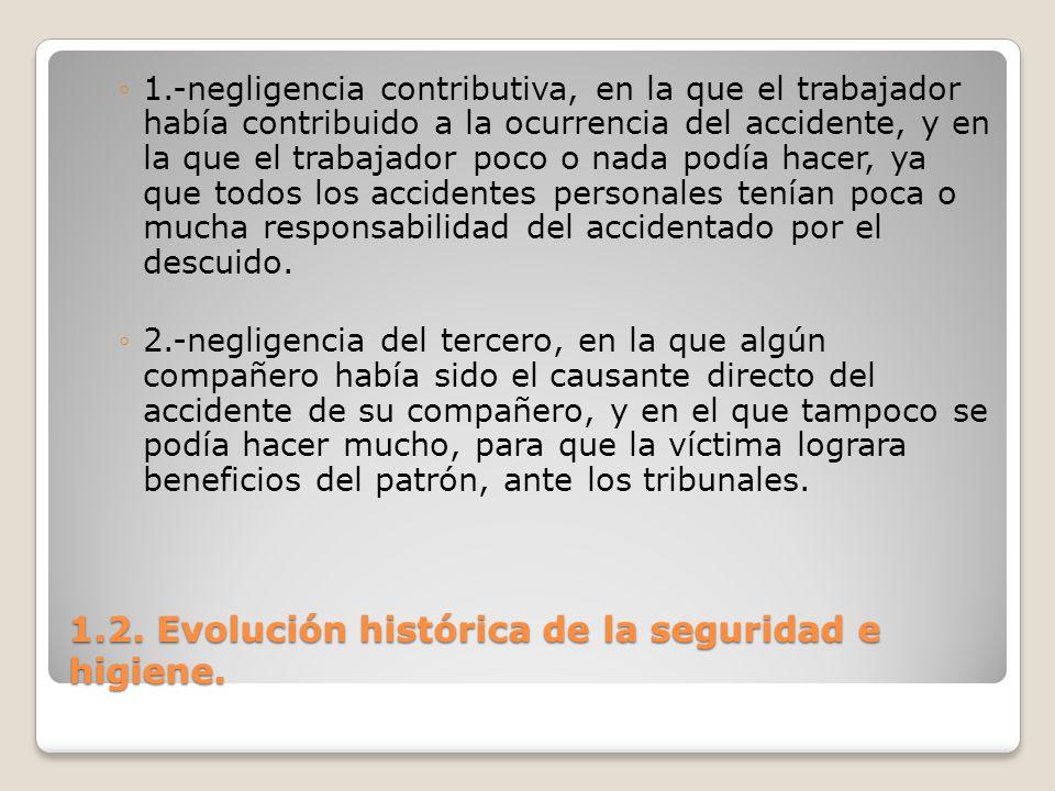 1.2. Evolución histórica de la seguridad e higiene. 1.-negligencia contributiva, en la que el trabajador había contribuido a la ocurrencia del acciden