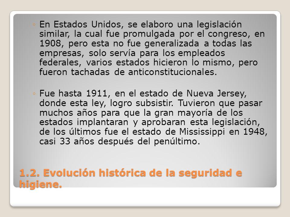 1.2. Evolución histórica de la seguridad e higiene. En Estados Unidos, se elaboro una legislación similar, la cual fue promulgada por el congreso, en