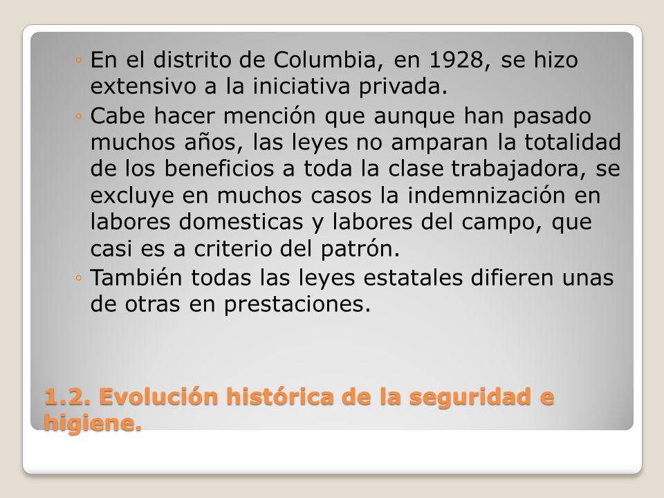 1.2. Evolución histórica de la seguridad e higiene. En el distrito de Columbia, en 1928, se hizo extensivo a la iniciativa privada. Cabe hacer mención