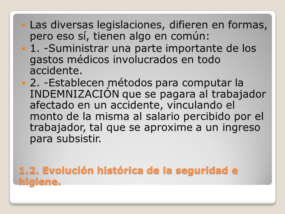 1.2. Evolución histórica de la seguridad e higiene. Las diversas legislaciones, difieren en formas, pero eso sí, tienen algo en común: 1. -Suministrar
