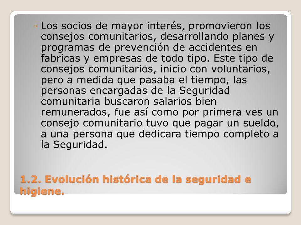 1.2. Evolución histórica de la seguridad e higiene. Los socios de mayor interés, promovieron los consejos comunitarios, desarrollando planes y program
