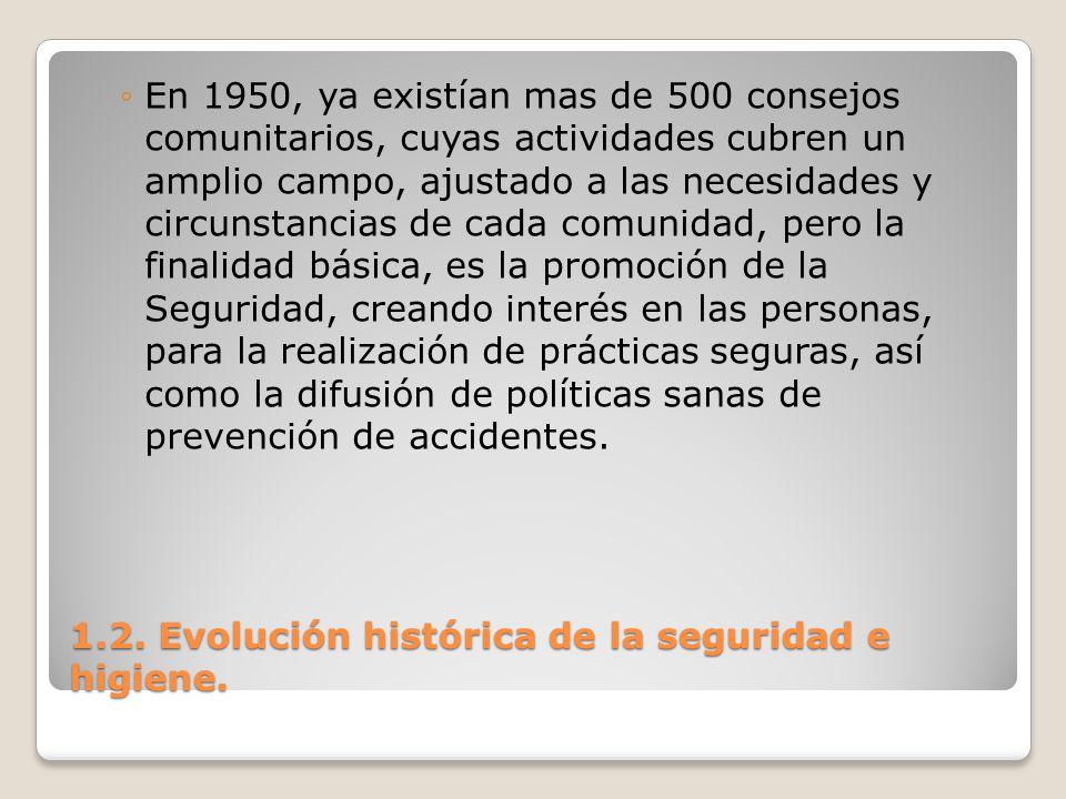 1.2. Evolución histórica de la seguridad e higiene. En 1950, ya existían mas de 500 consejos comunitarios, cuyas actividades cubren un amplio campo, a