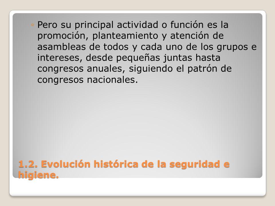 1.2. Evolución histórica de la seguridad e higiene. Pero su principal actividad o función es la promoción, planteamiento y atención de asambleas de to