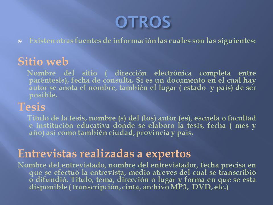 OTROS Existen otras fuentes de información las cuales son las siguientes: Sitio web Nombre del sitio ( dirección electrónica completa entre paréntesis