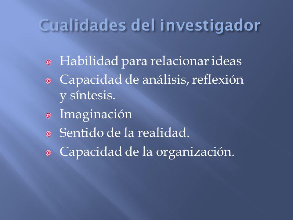 Habilidad para relacionar ideas Capacidad de análisis, reflexión y síntesis. Imaginación Sentido de la realidad. Capacidad de la organización.