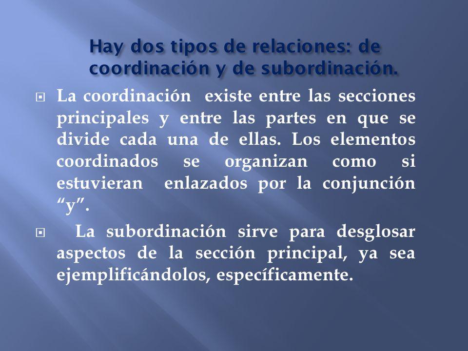 Hay dos tipos de relaciones: de coordinación y de subordinación. La coordinación existe entre las secciones principales y entre las partes en que se d