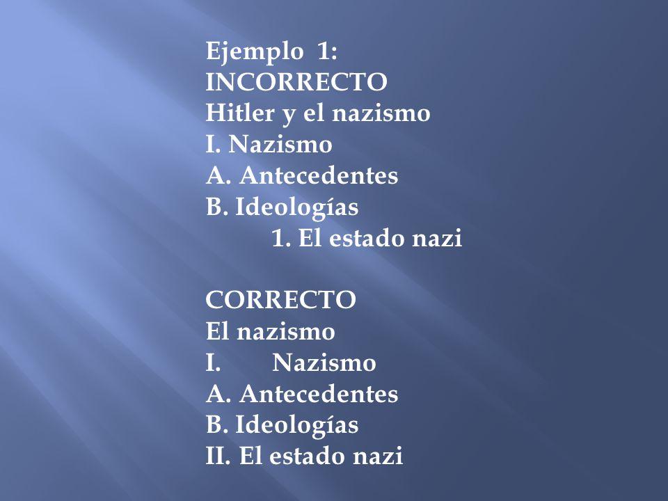 Ejemplo 1: INCORRECTO Hitler y el nazismo I. Nazismo A. Antecedentes B. Ideologías 1. El estado nazi CORRECTO El nazismo I.Nazismo A. Antecedentes B.