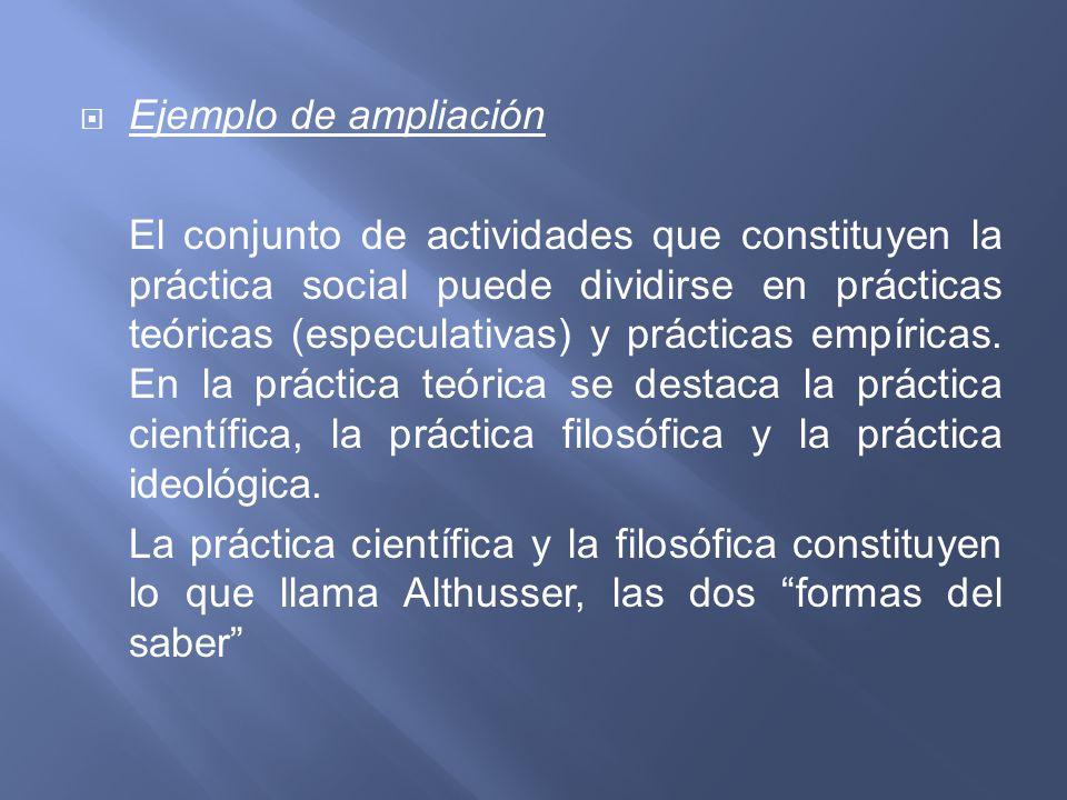 Ejemplo de ampliación El conjunto de actividades que constituyen la práctica social puede dividirse en prácticas teóricas (especulativas) y prácticas