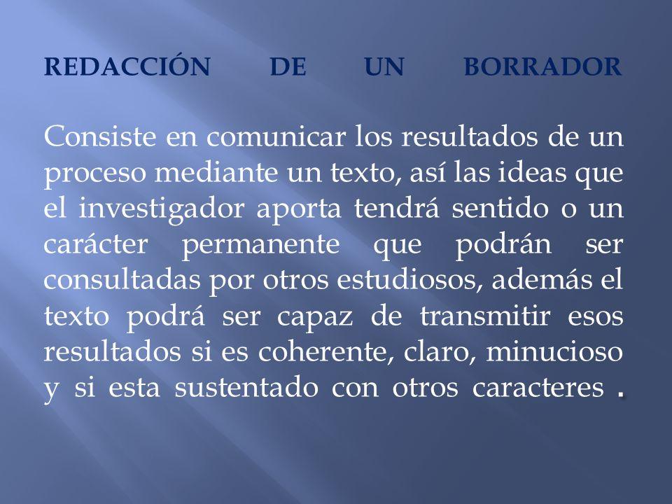 . REDACCIÓN DE UN BORRADOR Consiste en comunicar los resultados de un proceso mediante un texto, así las ideas que el investigador aporta tendrá senti