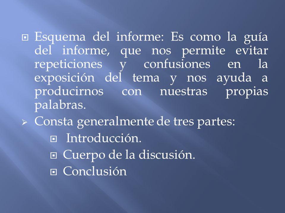 Esquema del informe: Es como la guía del informe, que nos permite evitar repeticiones y confusiones en la exposición del tema y nos ayuda a producirno