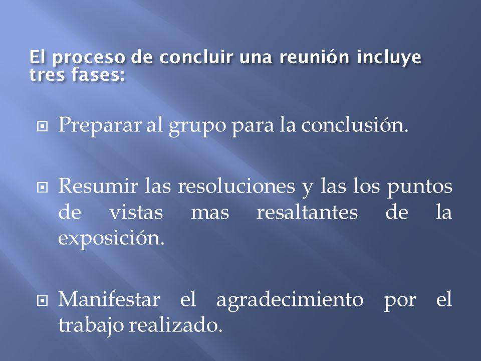 Preparar al grupo para la conclusión. Resumir las resoluciones y las los puntos de vistas mas resaltantes de la exposición. Manifestar el agradecimien