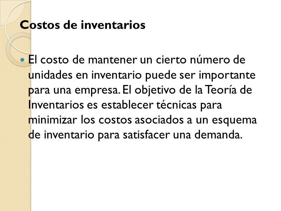 Costos de inventarios El costo de mantener un cierto número de unidades en inventario puede ser importante para una empresa. El objetivo de la Teoría