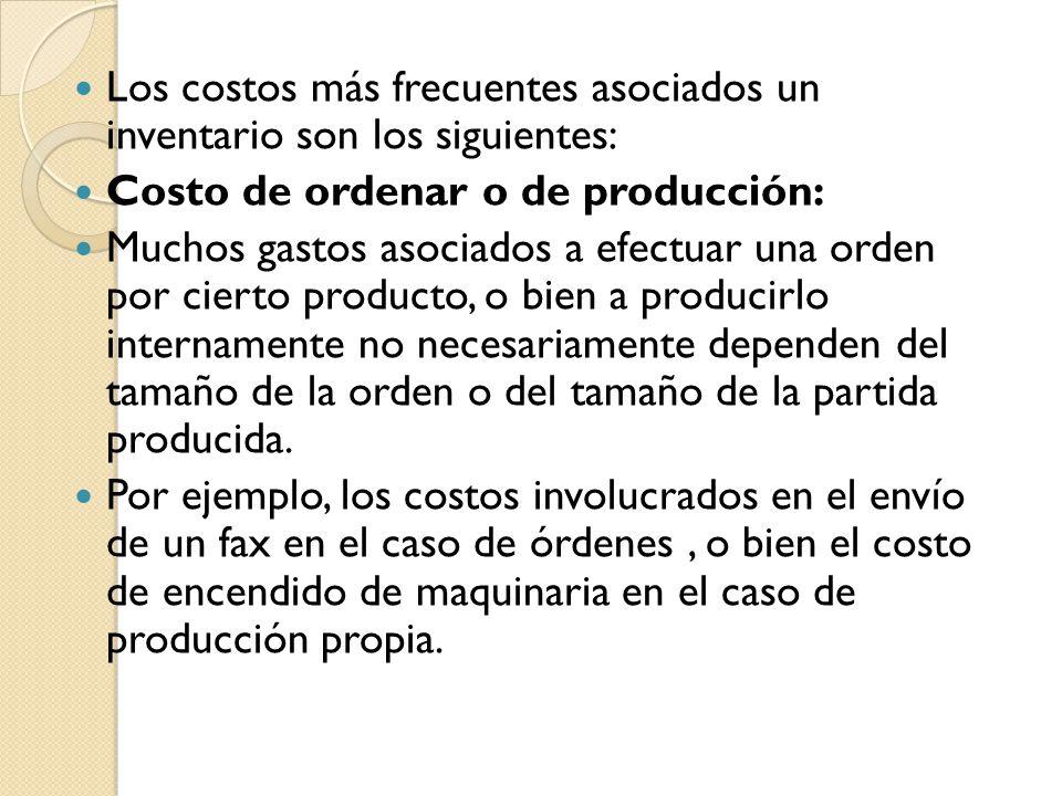 Los costos más frecuentes asociados un inventario son los siguientes: Costo de ordenar o de producción: Muchos gastos asociados a efectuar una orden p