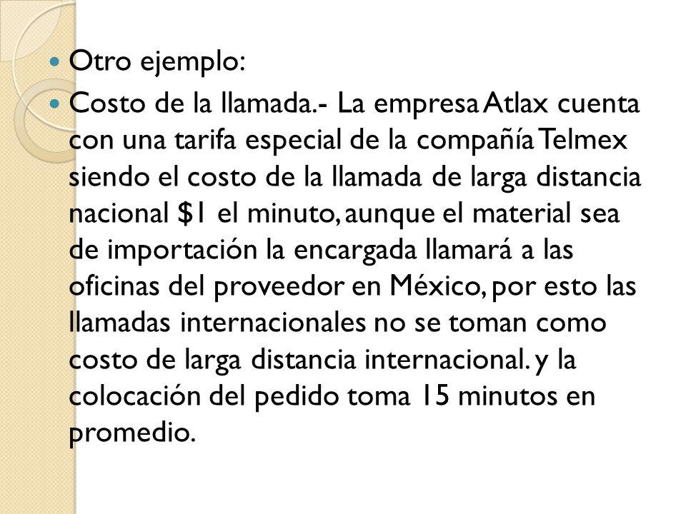 Otro ejemplo: Costo de la llamada.- La empresa Atlax cuenta con una tarifa especial de la compañía Telmex siendo el costo de la llamada de larga dista