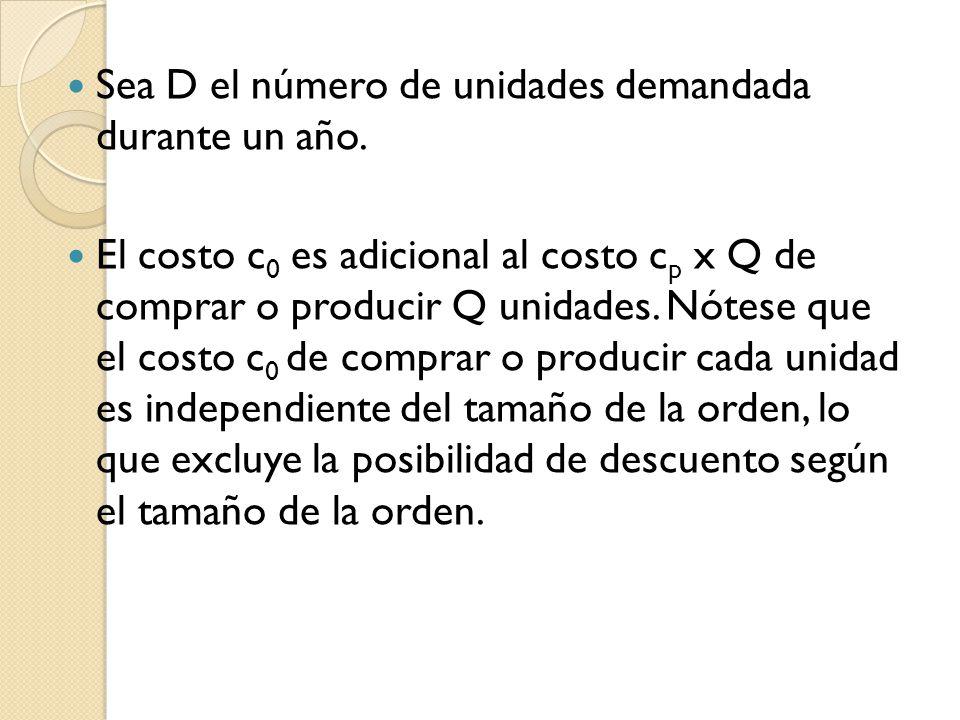 Sea D el número de unidades demandada durante un año. El costo c 0 es adicional al costo c p x Q de comprar o producir Q unidades. Nótese que el costo