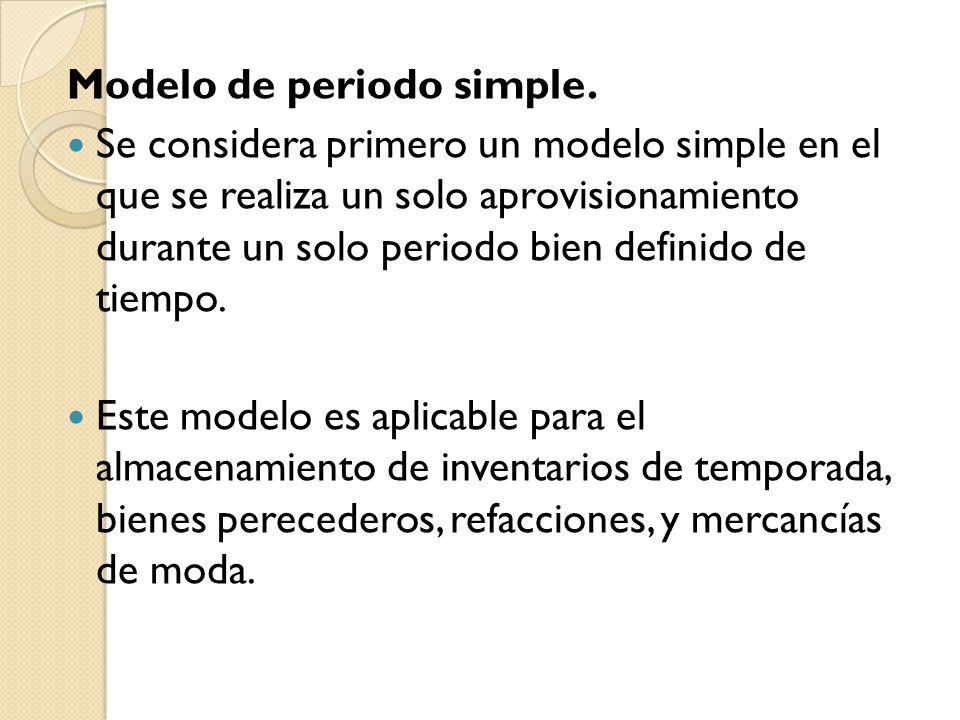 Modelo de periodo simple. Se considera primero un modelo simple en el que se realiza un solo aprovisionamiento durante un solo periodo bien definido d