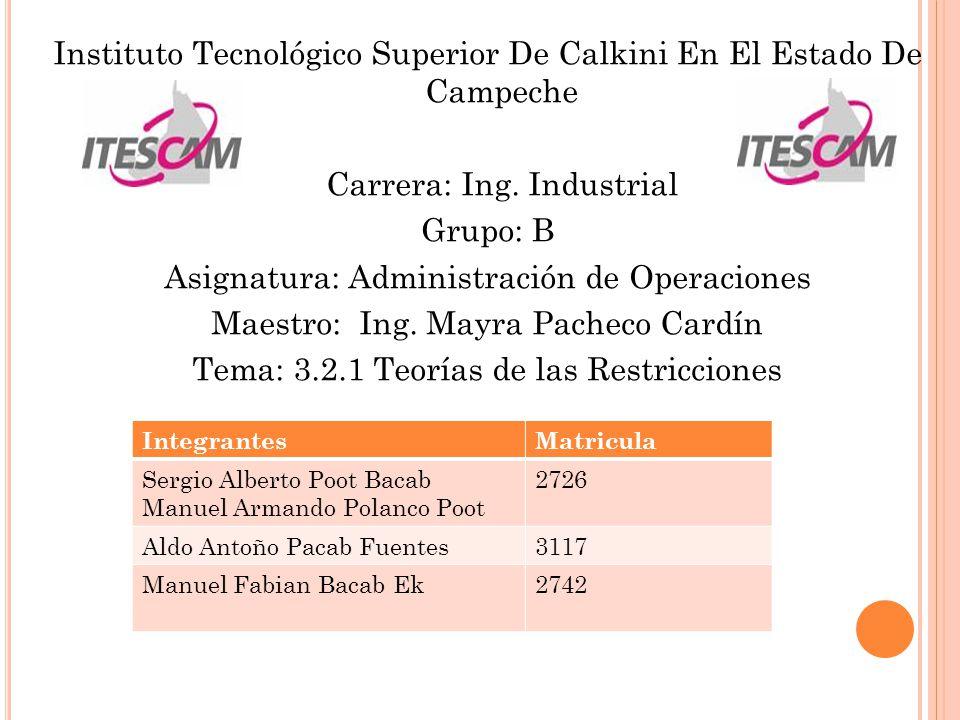 Instituto Tecnológico Superior De Calkini En El Estado De Campeche Carrera: Ing. Industrial Grupo: B Asignatura: Administración de Operaciones Maestro