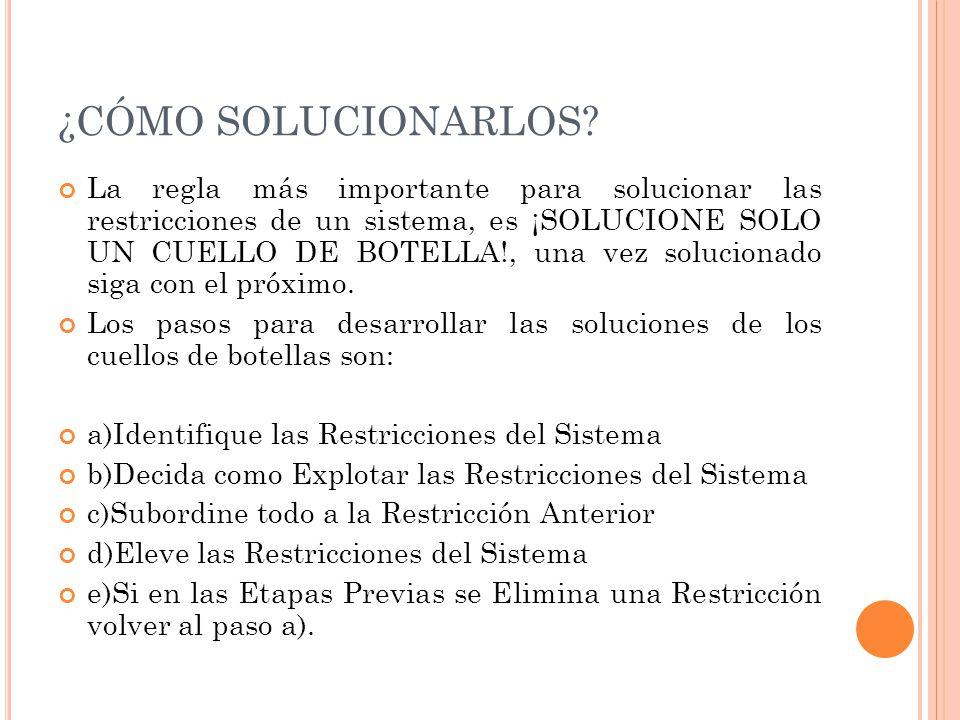 ¿CÓMO SOLUCIONARLOS? La regla más importante para solucionar las restricciones de un sistema, es ¡SOLUCIONE SOLO UN CUELLO DE BOTELLA!, una vez soluci