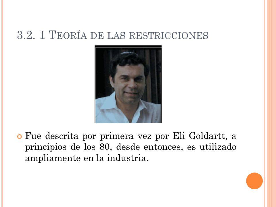 3.2. 1 T EORÍA DE LAS RESTRICCIONES Fue descrita por primera vez por Eli Goldartt, a principios de los 80, desde entonces, es utilizado ampliamente en