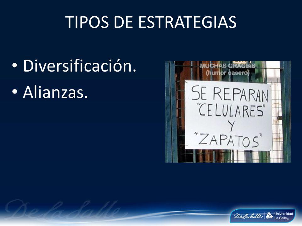 TIPOS DE ESTRATEGIAS Diversificación. Alianzas.