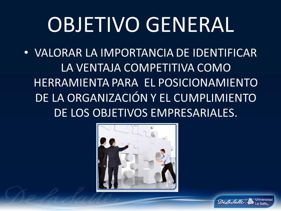 OBJETIVO GENERAL VALORAR LA IMPORTANCIA DE IDENTIFICAR LA VENTAJA COMPETITIVA COMO HERRAMIENTA PARA EL POSICIONAMIENTO DE LA ORGANIZACIÓN Y EL CUMPLIM