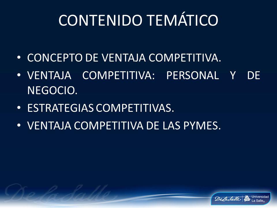 CONTENIDO TEMÁTICO CONCEPTO DE VENTAJA COMPETITIVA. VENTAJA COMPETITIVA: PERSONAL Y DE NEGOCIO. ESTRATEGIAS COMPETITIVAS. VENTAJA COMPETITIVA DE LAS P