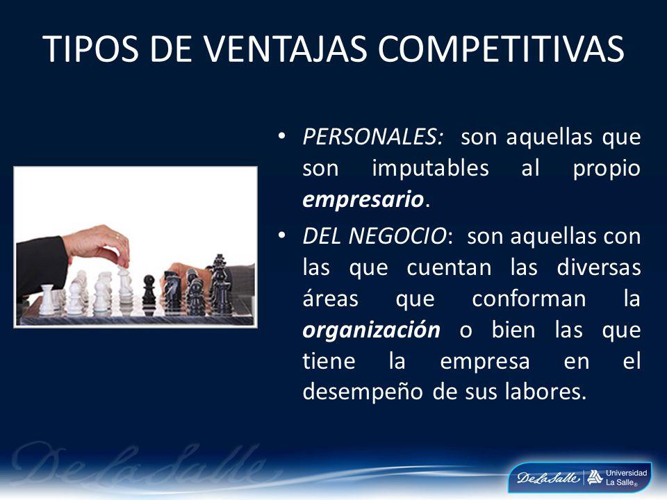 VENTAJA COMPETITIVA La ventaja competitiva puede ser entonces desde los conocimientos, habilidades, personalidad, o incluso aptitudes que posea el empresario.