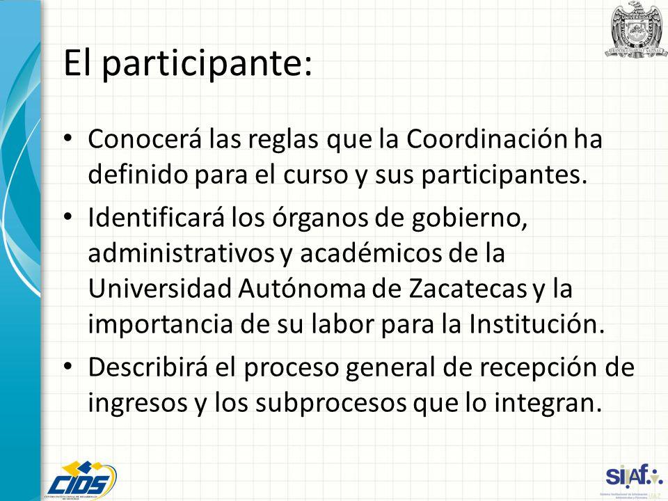 El participante: Conocerá las reglas que la Coordinación ha definido para el curso y sus participantes. Identificará los órganos de gobierno, administ