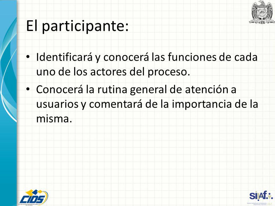 El participante: Identificará y conocerá las funciones de cada uno de los actores del proceso. Conocerá la rutina general de atención a usuarios y com