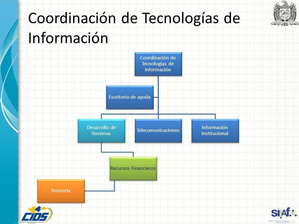 Coordinación de Tecnologías de Información Desarrollo de Sistemas Recursos Financieros Tesorería Telecomunicaciones Información Institucional Escritor