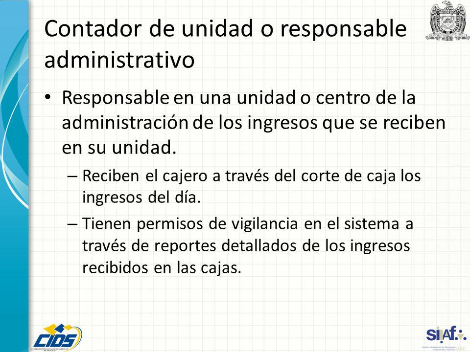 Contador de unidad o responsable administrativo Responsable en una unidad o centro de la administración de los ingresos que se reciben en su unidad. –