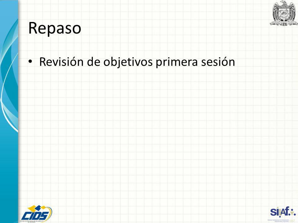Repaso Revisión de objetivos primera sesión